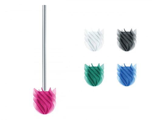 Sanwood 1240520 WATERCLOU innovative WC-Bürste ohne Borsten Toilettenbürste aus Silikon Edelstahl-Stiel rostfrei - pink