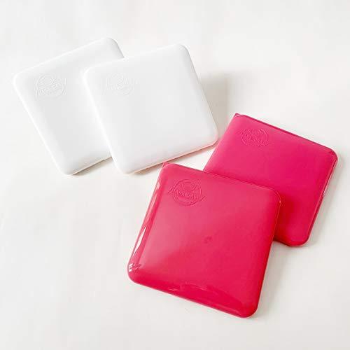 Cussi MaskCase-pack de 4 estuches cuadrados para mascarilla (BLANCO, ROJO)