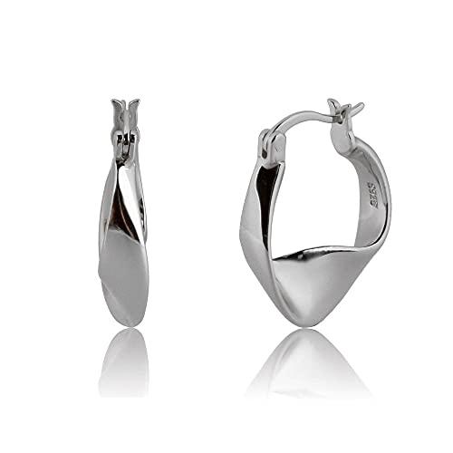925 llantas geométricas de plata grandes pendientes de mujer redondos de círculo de 11 mm piercing pendiente joyería de lujo-aro de plata