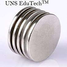 UNS EduTech Disc Shaped Nickel Plated Silver Color Magnets 25mmX2mm Pack of 5 Pieces