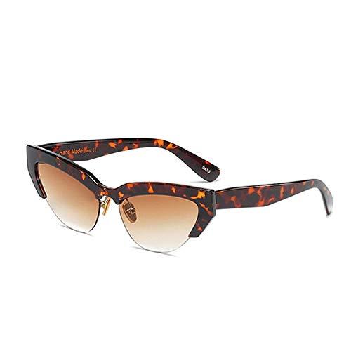 WSXOKN Gafas De Sol Mujer Uv400 Sexy Leopard Semi-Rimless Ladies Luxury Cat Eye Brand Small Cateye Sun Glasses Shades Eyewear C6 Leopard.Tea