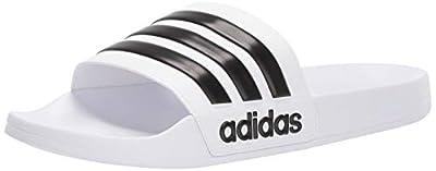 adidas Men's Adilette Shower Slide, White/Core Black/White, 13