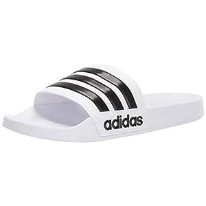 adidas Men's Adilette Shower Slide, White/Core Black/White, 10