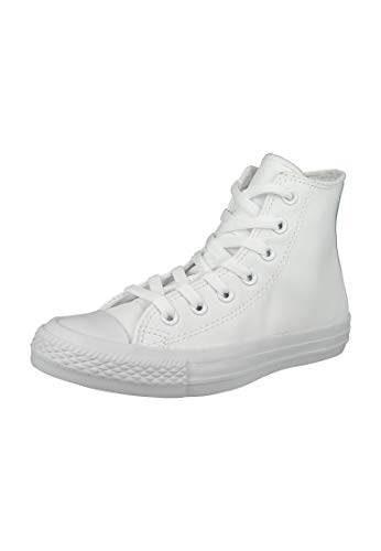 Converse All Star Chuck Taylor Hi Mono White Leather Trainers-UK 6