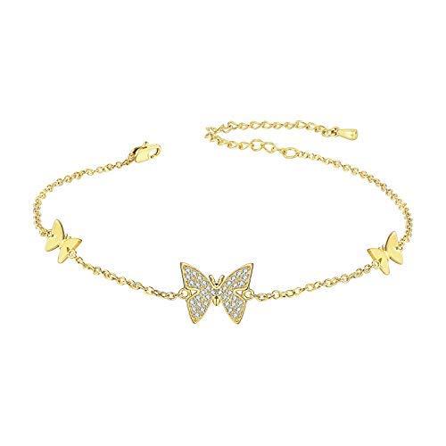 Pulsera de oro de 18 quilates con diseño de mariposa para mujer, con diseño de circonita, ideal como regalo para regalo