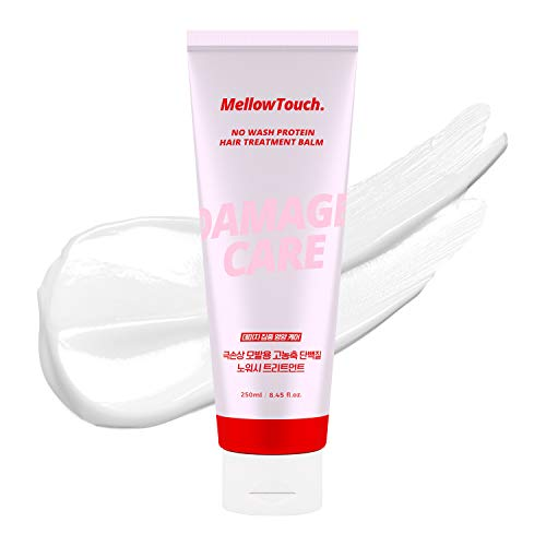 Mellow Touch No Wash Protein Hair Treatment Balm, LEAVE IN CONDITIONING TREATMENT for Dry Damaged Hair, with Essential Amino Acids & Abyssinian Oil, Paraben-Free, Product of Korea - 8.45 fl. oz