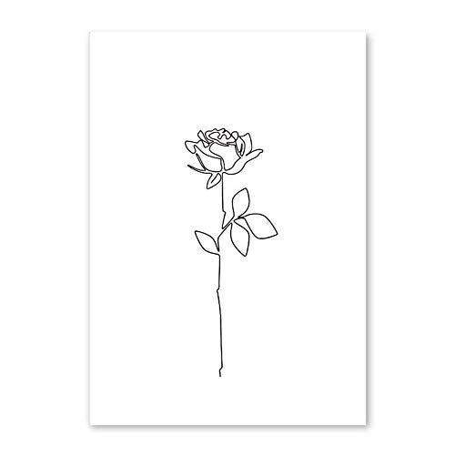 bdrsjdsb Nordic Vereinfachte Blume Hände Zeichnung Leinwand Ungerahmt Malerei Wandkunst Bild Dekor 4# 30 * 40 cm