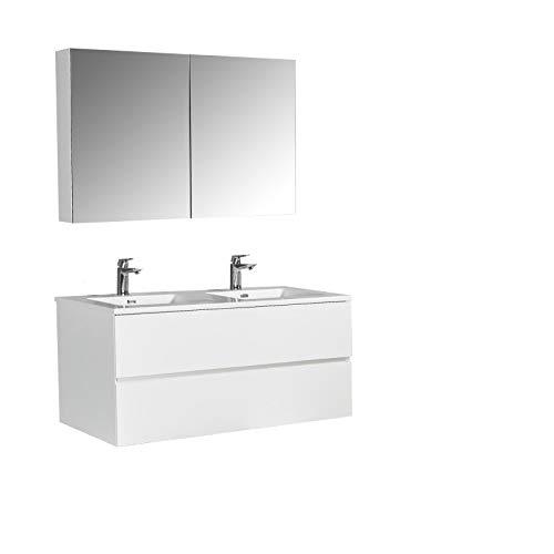 Badmöbel-Set EDGE 1200 - Farbe wählbar - Farbe:Weiß glänzend, Farbe-Waschbecken:Weiß glänzend, Mit Spiegelschrank EDGE