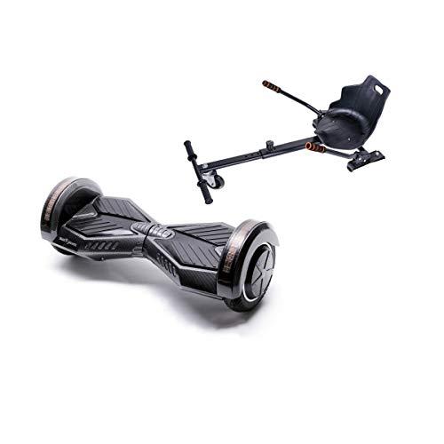 Smart Balance Hoverboard Transformers Carbon con Hoverkart, Gyropod 6.5 pulgadas, con altavoz Bluetooth, luces LED, motor 700 W para niños y adultos