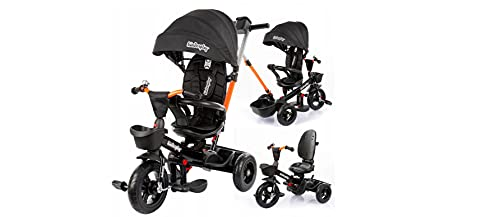 BDW Dreirad für Kinder, 4 in 1 Kinderdreirad mit Lenkbarer Schubstange, 360° Drehsitz, ab 9 Monate bis 5 Jahre, Belastbarkeit bis 25 kg (1)