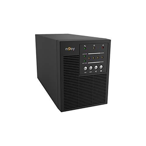 nJoy Echo 1000VA Gruppo di Continuità On-Line Doppia Conversione UPS, 800 Watt, RS232 Onda Sinusoidale Pura, 3 Uscite Schuko, 2 Batterie 12V 7Ah, (HxWxD 191x140x327 mm)