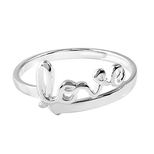 MATERIA joyería 925 plata anillo Love/amor inscripción - de acero inoxidable en plateado talla 52 - 60/tamaño ajustable incluye caja #SR-43
