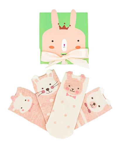 Caramella lustige Sockenbox für Frauen und Mädchen, süßes Ostern Geschenk für Freunde und Familie, Osterfest, 4 Paar bunte Socken (Mädchen, EU23-25)