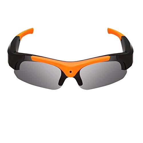 JAY-LONG HD1080P Sportkamera-Brille, polarisierte Sonnenbrille mit Mehreren Funktionen, TF-Unterstützungskarte, Augenschutz, Blendschutz, UV-Schutz,Orange