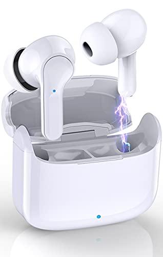 Auriculares Inalámbricos Bluetooth, Donerton Auriculares Bluetooth 5.0 con Estéreo Micrófono Cascos In-Ear, IP7 Impermeable, con Caja de Carga Portátil, 8 Horas de reproducción Permanente, Blanco