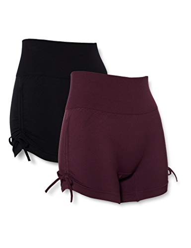 AURIQUE Damen Yoga-Shorts, 2er-Pack, Mehrfarbig (Black & Pickled Beet), 40, Label:L