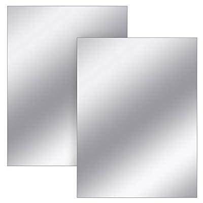 Sntieecr 2 Sheets 11.8 x 15.7 Inch Acrylic Mirror Wall Stickers Self Adhesive Mirror Sheets Flexible Non Glass Mirror Tiles for DIY Home Wall Decor