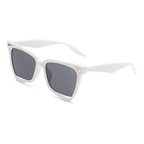 Gafas de Sol,Gafas de sol de color con montura grande de moda, gafas de sol huecas de moda transparente para mujer, montura blanca, película gris negra