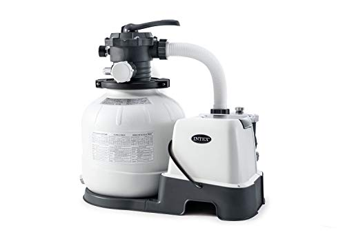 Intex 26675EG Krystal Clear 1500 GPH Pump & Saltwater Sand Filter Saltwater System, Grey