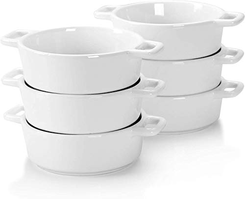 Porcelain Ramekins for Baking, 6 PCS Souffle Dishes Bakeware Set, 6.8 OZ Oven Safe Round Ramekin Bowls for Desserts ,Double Handle Ramekins for Pudding, Custard, Dipping, Dessert Bowls, Creme Brulee Dishes, 4.1 x 4.1 x 1.5 in