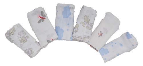 Ti TIN Pack 6 Muselinas Estampadas para Bebé 100% Algodón con Tejido...