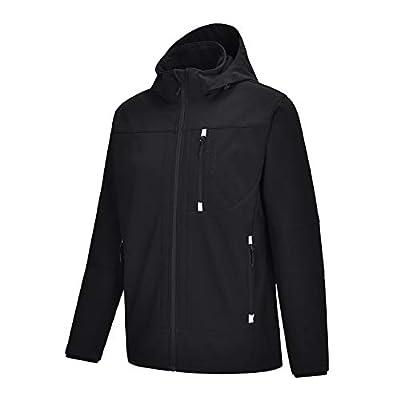 Men's Fleece Lined Softshell Jacket with Detachable Hood Waterproof Windproof Lightweight Workout Coat Black
