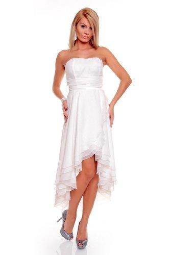 Knielanges Bandeau Kleid Chiffon Ballkleid Abendkleid Cocktailkleid Festkleid L (38) Weiß