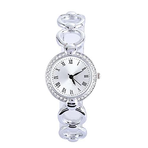 Relojes de Mujer analógica con Brazalete de aleación Movimiento de Relojes de Pulsera Acentos Relojes de Cadena con batería de botón (Plata)
