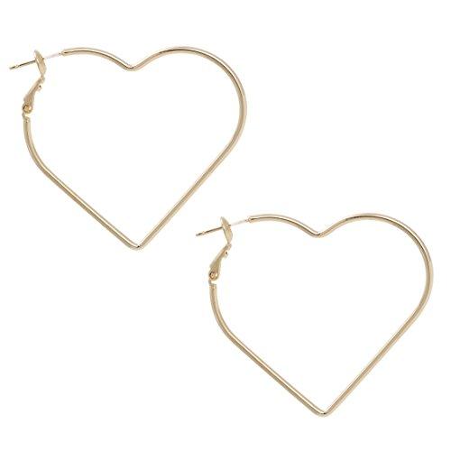 Bonaluna Damen Hören Sie die Form Ohrringe Gold Farbe