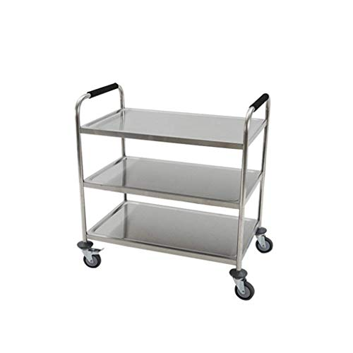 YEESEU Shelf-Stainless Steel Delivery Car Mobile Restaurant With 3 Layers Collection Tableware Cart Multifunction practical (Size : 80 * 40 * 90cm)
