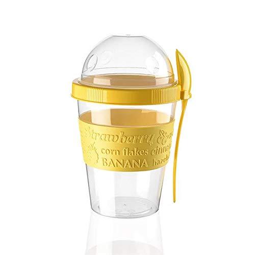 BEFA Müsli to Go | BPA Frei | Müslibecher | Deckel inkl Löffel mit Halterung | Joghurtbehälter | Obstbehälter | Salatbecher | Reisebecher | Lunchbox | Fruit (Gelb)