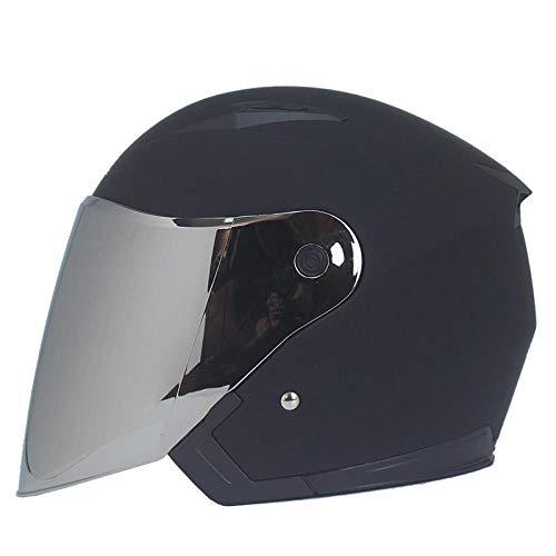 Casco de Scooter eléctrico de Motocicleta Casco Masculino y Femenino Cuatro Estaciones Medio Casco de Motocicleta Casco de Doble Lente Visera de Seguridad casco-b10, XL