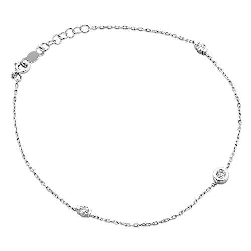 Orovi Pulsera de mujer de oro blanco 375 de 9 quilates con diamantes de talla brillante de 0,15 quilates, 18 cm