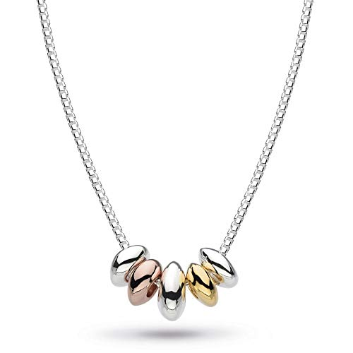 Kit Heath Sterling Silver and 18ct Gold and Rose Gold Coast Tumble Quinate Necklace - 18'