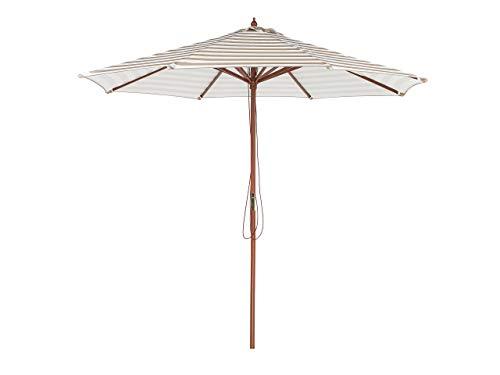 Runder Sonnenschirm mit Zebra-Streifen in Beige/Weiß Ø245 cm Modern Ferentillo