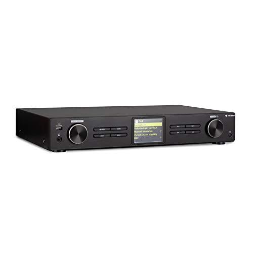 AUNA iTuner 320 BT Tuner HiFi numérique avec Bluetooth et WiFi - Spotify Connect, Internet, Tuner Dab+ et FM, DLNA & UPnP, USB, Lecteur multimédia réseau, écran HCC, télécommande, Noir