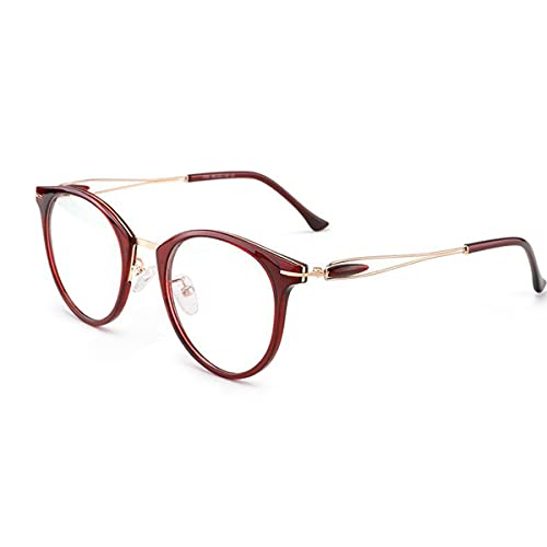 HAOXUAN Gafas de Lectura de fotograma Completo para Mujer de Moda, multifocal Progresivo, Lente HD Anti-luz Azul, Gafas de computadora, dioptrías +1,00 a +3,00,Rojo,+1.50