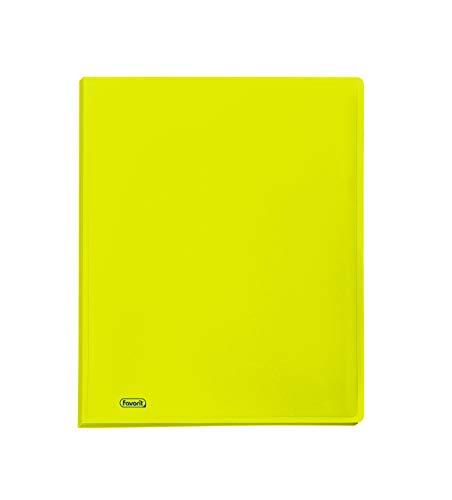 Favorit 400102291 Portalistino Neon con 60 Buste Formato Interno 22X30 cm, Giallo Fluo