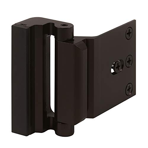 "Defender Security Bronze U 11126 Door Reinforcement Lock – Add Extra, High Security to Your Home and Prevent Unauthorized Entry – 3"" Stop, Aluminum Construction Anodized Finish"