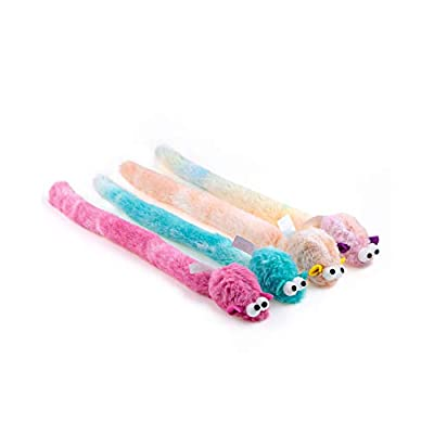 Chiwava 4 Packs 15 Inch Long Soft Plush Cat Toys Mice with Bell Rustle Sound Small Mouse Activity Interactive Toy