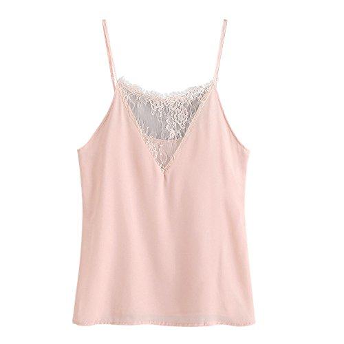 OVERDOSE Damen Lace Chiffon Vest Top Sleeveless Casual Tank Blouse Summer Tops T-Shirt Spitze Weste Sommer Blusen (M, C-Z-Rosa1)