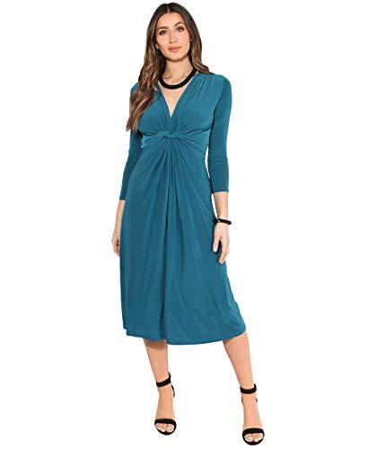 KRISP - Vestito da donna, corto, taglia grande, per matrimonio, serata, cocktail, festa, elasticizzato, effetto plissettato, elegante, da cerimonia Fo