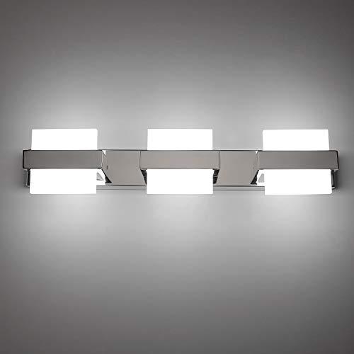 Temgin Spiegelleuchte LED 3 Flammig Badleuchte 50cm Badlampe 18W Spiegellampe KaltWeiß 6000K Badezimmer Lampe 1500LM Wandleuchte badezimmer Wandlampe