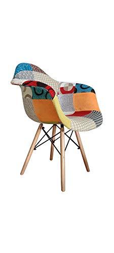 ST013 Beat Patchwork-2 Silla con brazos patas madera tapizada tejido patchwork estilo nórdico para comedor, cocina , balcón , terraza interior,habitación juvenil, dormitorio, hostelería. 1 unidad