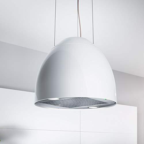 Bielmeier V Inselhaube NEW MOON/Edelstahl/Polymer pearl white/Ø 45cm / max. 650 m³/h/EEK: B