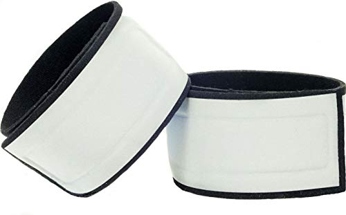 Leg Shield Reflective Ankle Bands - Very Large Reflective Surface Area - Super Bright, Comfortable, Neoprene - for Biking, Running, Walking - Protects Cyclist's Pants from Chain (Silver - 2 Bands)