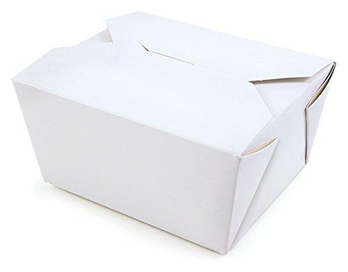 24 WEIßE BOXEN Take Away Box FALTSCHACHTEL Kraftkarton Speisebox Deko Geschenkbox Muffin Box Gift Box Kartonschachtel Faltdeckel Innenbeschichtung Bio Wachs 100% biologisch abbaubar 600ml