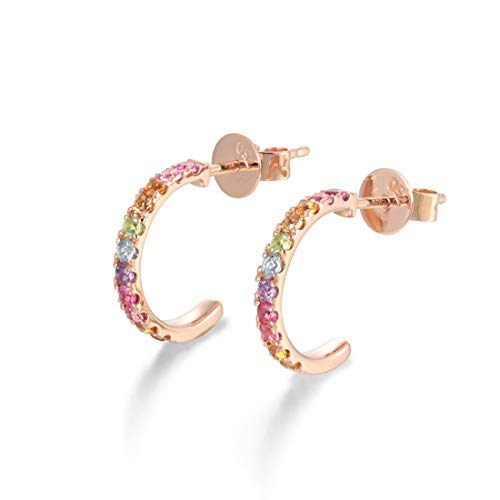 FANCIME 14k Solid Rose Gold 0.26cttw Genuine Gemstone Multi-Colored Peridot / Amethyst / Topaz / Citrine / Tourmaline Cute Small Half Hoop Earrings Fine Jewelry For Women Girls