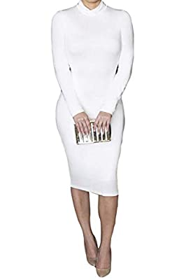 Pink Queen Womens Turtleneck Long Sleeve Knee Length Bodycon Midi Dress S White