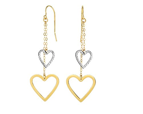 14k Yellow+White Gold Heart Double Strand Drop Earring with Euro Wire Clasp